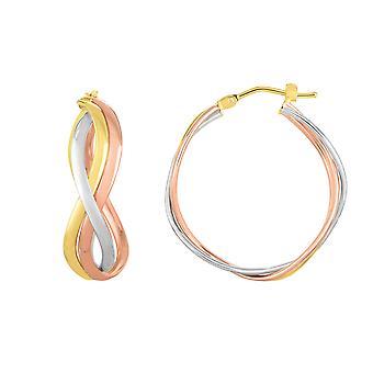 14K kullan Rose keltainen ja valkoinen timantti leikattu vanne Fancy korvakorut, halkaisijaltaan 23mm