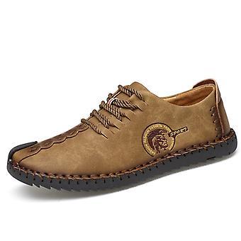 Viajes de hombre zapatos casuales de cuero caqui
