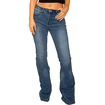 Long Leg Faded Flared Jeans - Azul