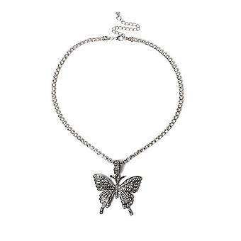 Big Butterfly Pendant Necklace Rhinestone Chain