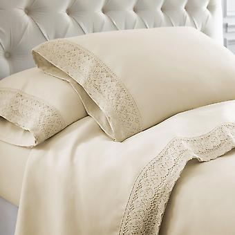 Udine 4 Piece California King Size Sheet Set With Crochet Lace The Urban Port, Cream