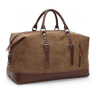 Fashion Canvas Travel Bag, Leather Large Capacity Vintage Luggage Bags