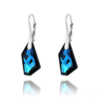 Silver bermuda blue earrings  made with swarovski crystal