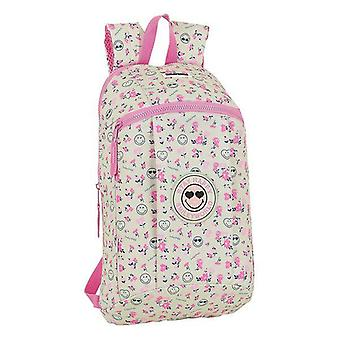 Casual backpack smiley world garden white pink