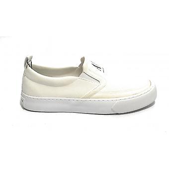 Men's Slip On Armani Exchange Sneaker In White Fabric Us21ax07 Xuy003