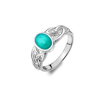 Bague Sterling Silver - Celtic Trinity Knots + Turquoise