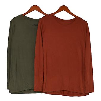Peace Love World Women's Top Set Of 2 Round Neck Long Slv Green A391126