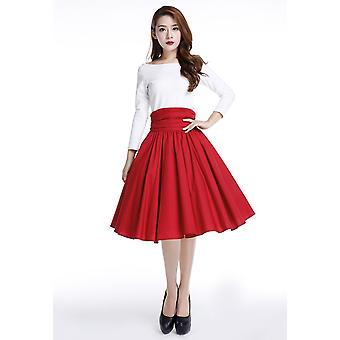 Chic Star Plus Size 1950s High Ruched Waist Circle Skirt In Red