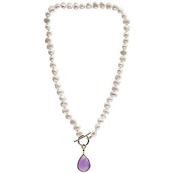 Pearls of the Orient Clara Freshwater Pearl Chalcedony Drop Necklace - Lavender Purple