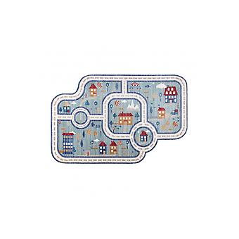Children's rug TOYS 75321 streets for children - modern, irregular shape, 3D effect, navy blue - turquoise / cream