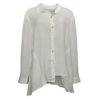 LOGO by Lori Goldstein Women's Top Textured Woven Blouse White A376998