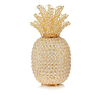 """15"""" Gold Pineapple Faux Crystal Sculpture"""