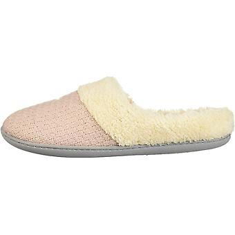Dearfoams DF Women's Sweater Knit Slipper, Dusty Pink, S Medium US