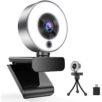 FengChun A9S Webcam mit Ringlicht, HD 1080P Webcam mit Mikrofon und Streaming Webcam, Plug Play