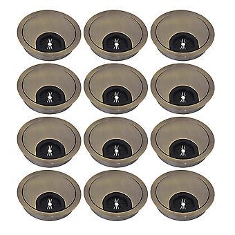 12PCS Bronze Desk Cord Grommets Fil Câble Couvercles de trou pour bureau