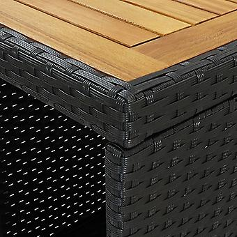 vidaXL bartafel met plank zwart 120x60x110 cm poly rotan