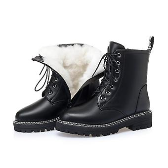 Genuine Leather Women Zip Nature Wool Warm Winter Boots