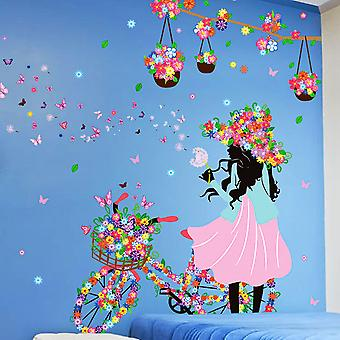 Regenboghorn Girls With Flower Hat And Bicycle Wall Decal Sticker