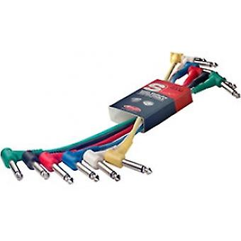 Stagg SPC015LEMetre Angled Jack Patch Cables 6-Pack Multi Colour 15cm(6in)