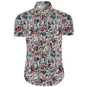 Mens 2 Piese 3d Floral Print Casual Button Down Short Sleeve Hawaiian Shirt And Shorts Set In
