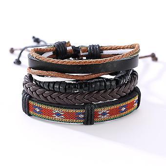 Vintage Adjustable Multilayer Braided Weave Leather Bracelet Wood Beaded