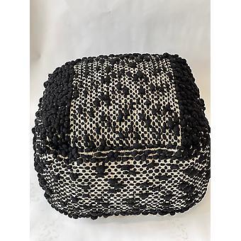 Spura Home Håndlavet strikket puffe firkantet uld og bomuld osmannisk