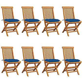 vidaXL Garden Chairs with Blue Cushion 8 pcs. Solid Wood Teak