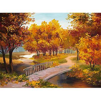 Tapeta Mural Obraz olejny jesiennego lasu z rzeką i mostem nad rzeką