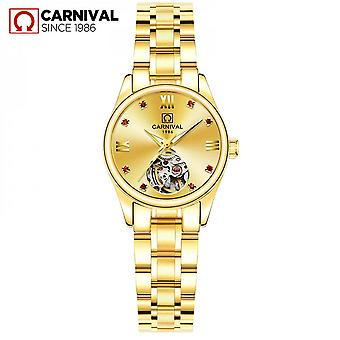 Automatic Mechanical Ladies Watch Gold Hollow Simple Female Watch