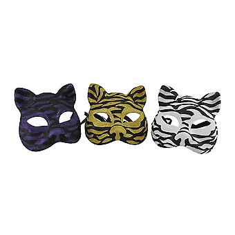 Set of 3 Sparkling Animal Stripe Gotto Carnivale Cat Costume Masks