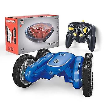 2.4Ghz remote control rotating car, 4wd headlights double sided 360° rc for boys girls(Blue)