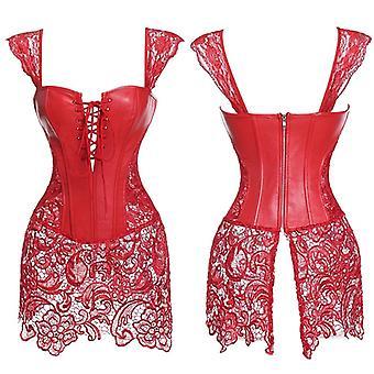 Faux kožený korzet gotický Bustier Sexy spodná bielizeň Halloween Steampunk Kostým Burlesque šaty Ženy Chudnutie Puzca Tops