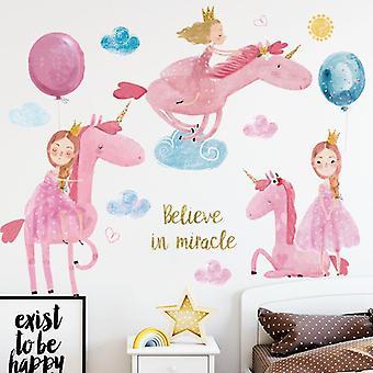 Cartoon Pink Unicorn Naklejki ścienne Naklejki Naklejki Baby Room Decor Tapety