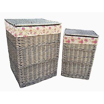 Square Laundry Basket Set 2 With Garden Rose Lining