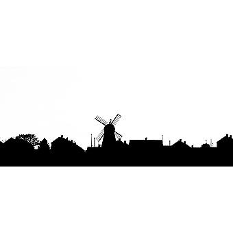 Silhouette of a skyline with a windmill and houses Whitburn Tyne and Wear England Poster Print by John Short  Design Pics