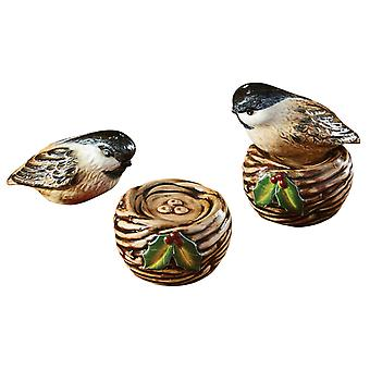 Winter vogel op Nest stapelen Salt en Pepper Shaker instellen keramiek