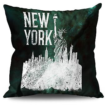 New York City Statue Linen Cushion 30cm x 30cm | Wellcoda