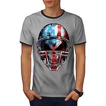 America Football Men Heather Grey / Heather Dark GreyRinger T-shirt | Wellcoda