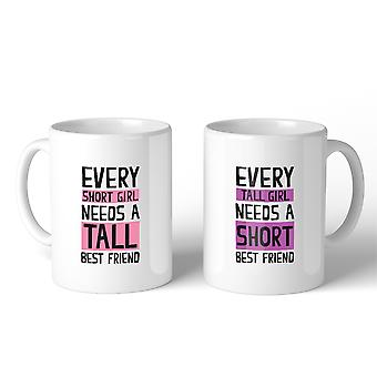 Tall Short Friend BFF Matching Gift Coffee Mugs 11 Oz For Birthday
