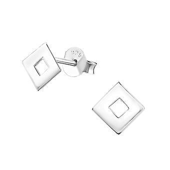Vierkant - 925 Sterling Zilver Plain Ear Studs - W34943x