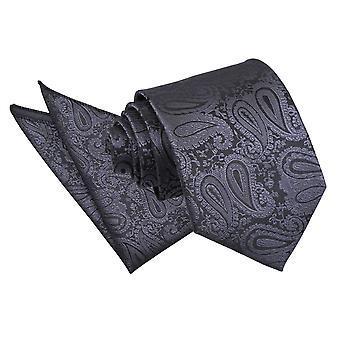 Węgiel drzewny szary Paisley Tie & placu kieszeni zestaw