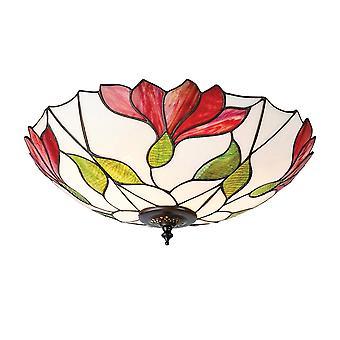 Interiör 1900 Botanica 2 lampa infälld röd blomma Tiffany takplatta
