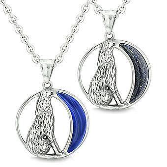Amulette Liebe Paare Freundinnen Heulender Wolf wilder Mond Midnight Blue Cats Eye Goldstone Halsketten