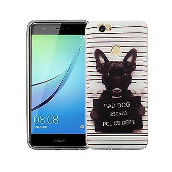 Handy Hülle für Huawei Nova Cover Case Schutz Tasche Motiv Slim TPU + Panzer Schutz Glas 9H Böser Hund Weiß