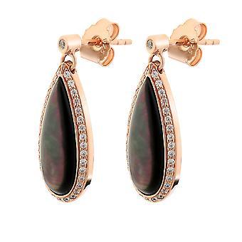 Orphelia Silver 925 Earring Rose goud met zwart Mother of Pearl en zirkonium - zo-7367