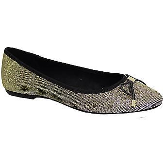 FLE010 a bientôt soirée pompes scintillant Sparkle Stud Bow Accent Slip sur chaussures plates