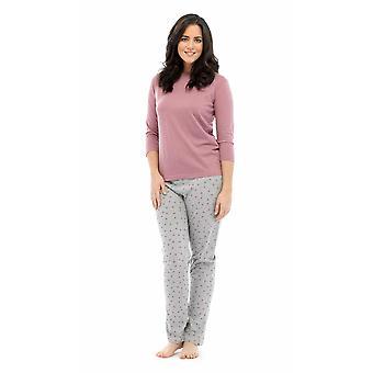 Ladies Tom Franks Star Print Polycotton Long Pyjama pajama Lounge Wear Sleepwear 12-14 Pink Top