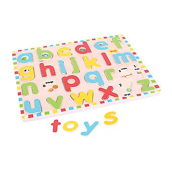 Bigjigs Toys Wooden Inset Puzzle Lowercase Alphabet Educational Writing