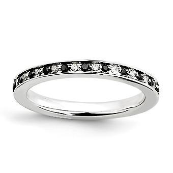925 sterling sølv polert prong sett mønstret rhodium belagt stables uttrykk svart og hvit diamant ring juvel