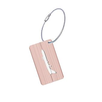 Aluminium luggage tag with airplane motif-Rosé